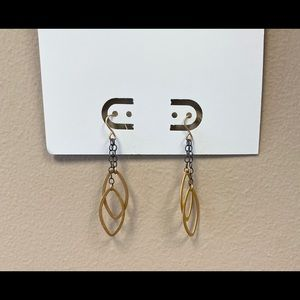 Brass and Black Chain Earrings
